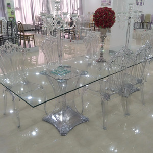 Modern living dining room table furniture homes clear plexiglass acrylic crystal base glass transparent rectangular dining table