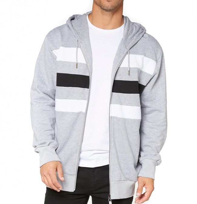 mens oversized heather stripe full zip hoodie