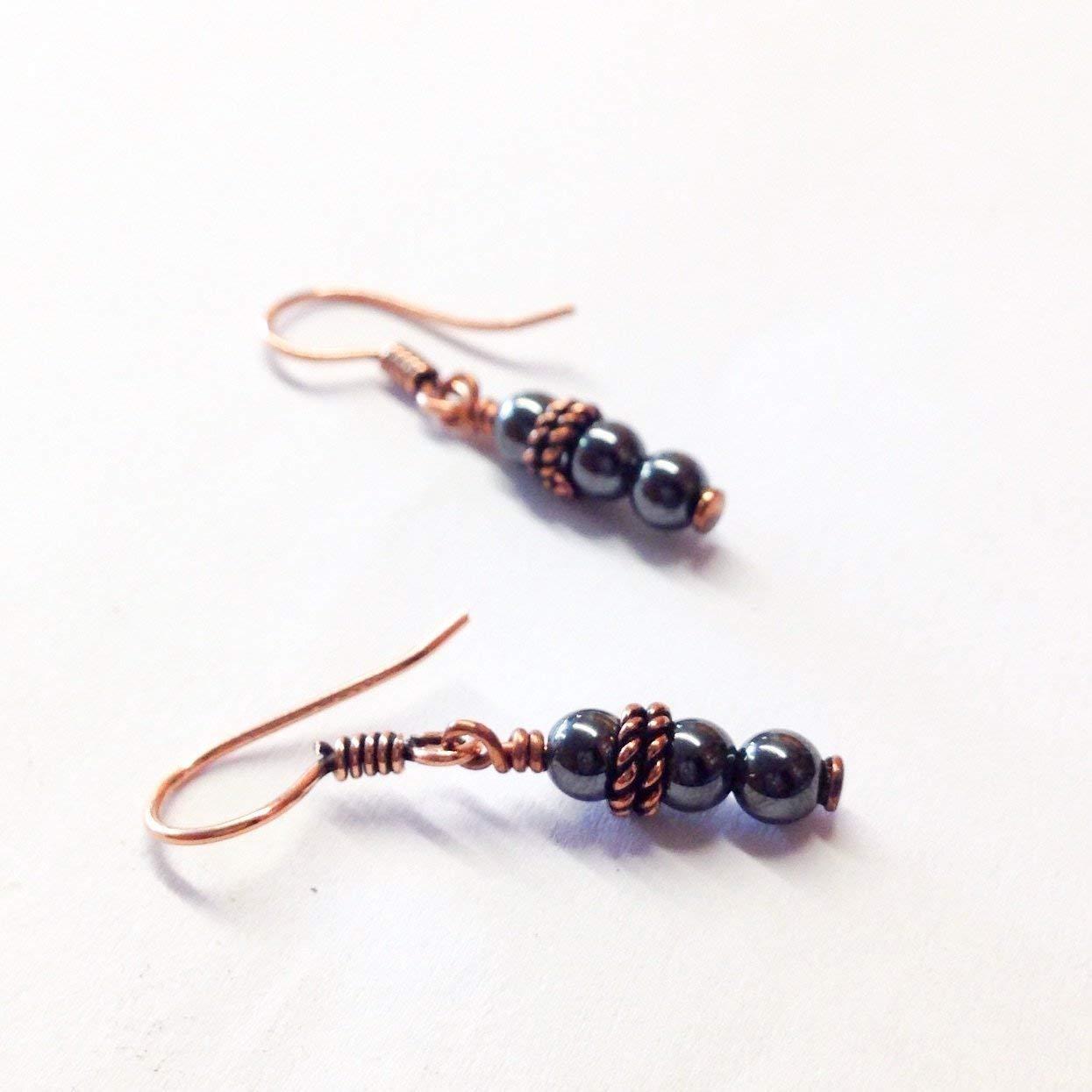 Hematite earrings, copper earrings, 7th anniversary gift, 11th anniversary gift, hematite anniversary, copper anniversary