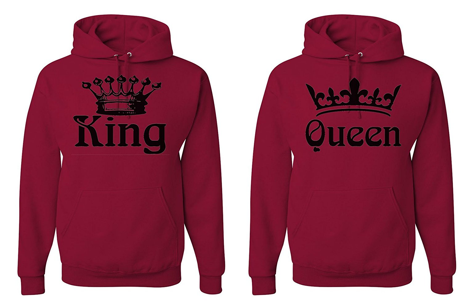 3276068436 FASCIINO Matching His & Hers Couple Hooded Sweatshirt Set - King and Queen  Crowns