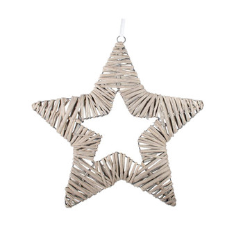 Wholesale Rustic Grey Christmas Willow Wicker Hanging Star decoration