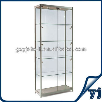 glass display case. Mordern Titanium Alloy Glass Display Showcase,Glass Jewelry Cabinet Case