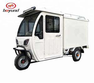 Three Wheel electric vehicle with enclosed body for cargo loading/electric cargo tricycle/food truck