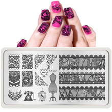 Fashion Glove Designs Nail Beauty Polish Transfer Stamping Plates Nail Art Templates Stencils Lace Bird Dream