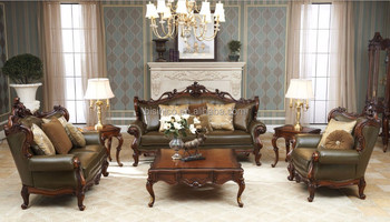European Baroque Elegant Royal French Design Luxury Leather Sofa/High  Quality Mahogany Solid Wood Army