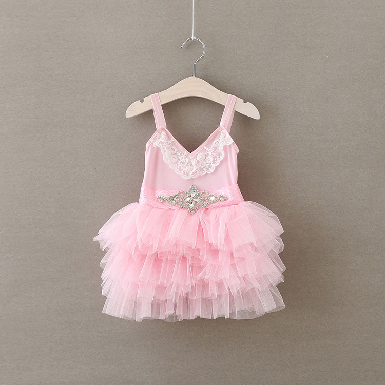 New Children Clothes Girls Pink Summer Girls Chiffon Ruffle Dresses with Lace Rhinestone Belt