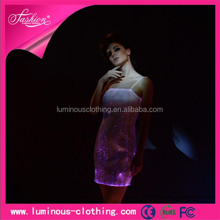 flashing led lighting fiber optic clothing sexy short prom dresses 2015