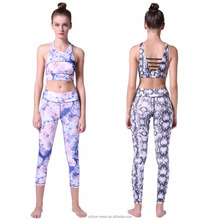 Fancy Flower Print Yoga Tank Top And Legging Two Piece Set Custom Manufacturers Supplex Fitness Womens Wholesale Activewear