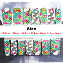 Pink green flower cat child Nail Arts Nail Sticker Waterproof Nail Decal Sticker Gel Polish French
