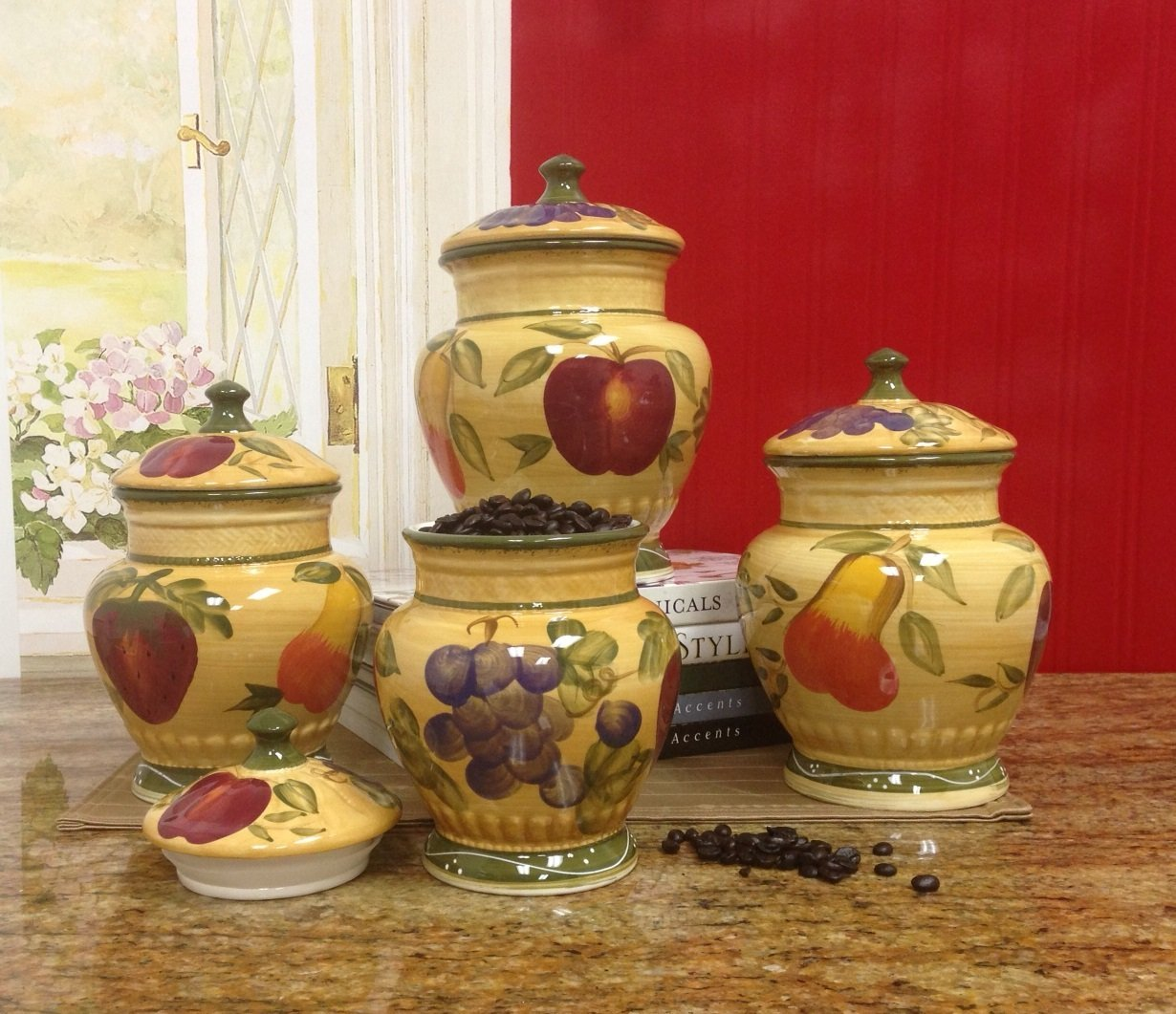 Get Quotations European Style Tuscan Fruit Grape Kitchen 4 Pc Canister Set