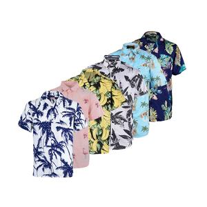 Printed design funny 100% cotton men wear hawaiian beach shirt short sleeve