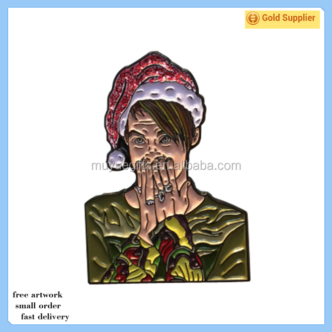 Wholesale souvenir custom enamel glitter christmas metal pin