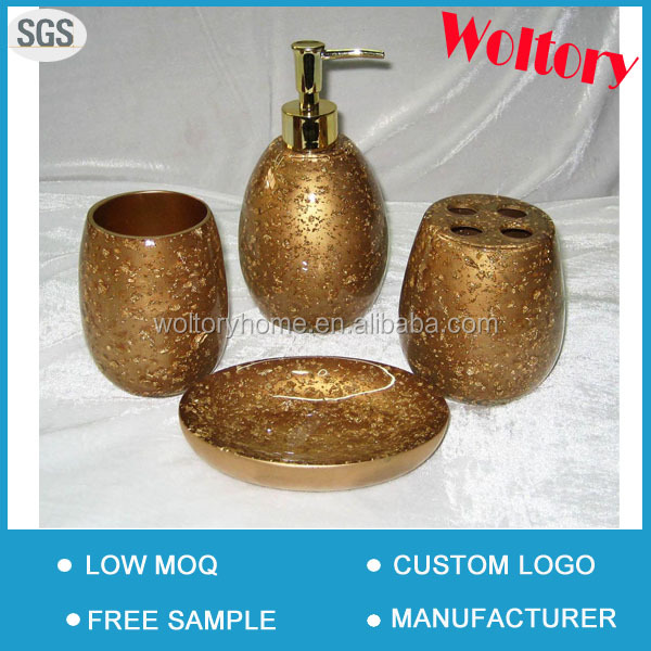 4pcs gold polyresin bath accessories, bathroom tumbler/Soap dispenser with Metal pump/soap dish/toothbrush holder