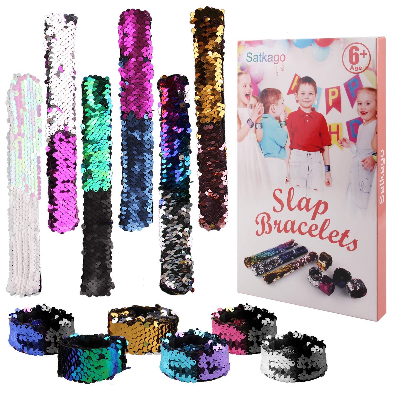 Satkago Slap Bracelets, 12 Pcs Reversible Sequin Slap Bracelets for Party Favors Party Wrist Strap 2 Color Decorative Charm Sequin Bracelet for Party Favors, Classroom Prizes