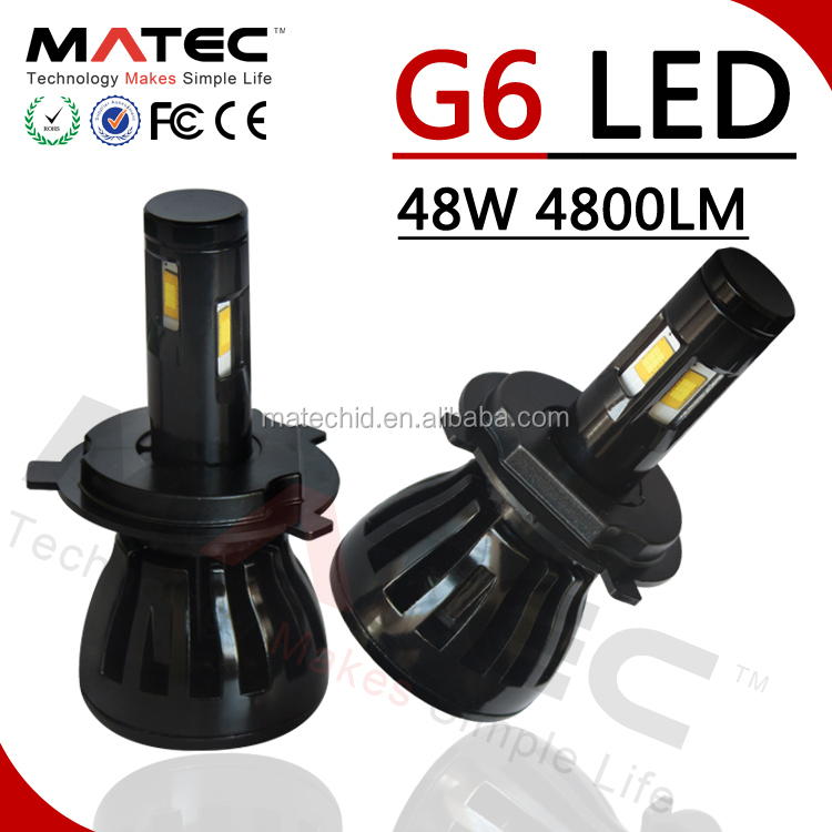 MATEC New Arrivals G6 Plug and Play H4 Car LED Headlight 96w 9600lm H7 H8 H9 H11 HB3 9004 9006