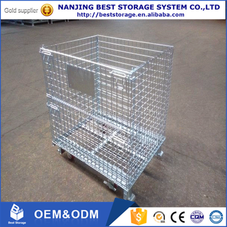 Foldable Lockable Stackable Metal Storage Wire Mesh Container Pallet Cage For Sale