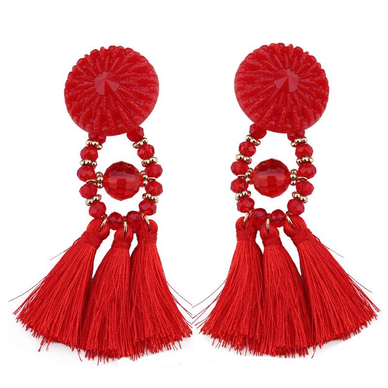 2017 9.20 fashion New model retro black Bohemia beads woman long tassel earrings