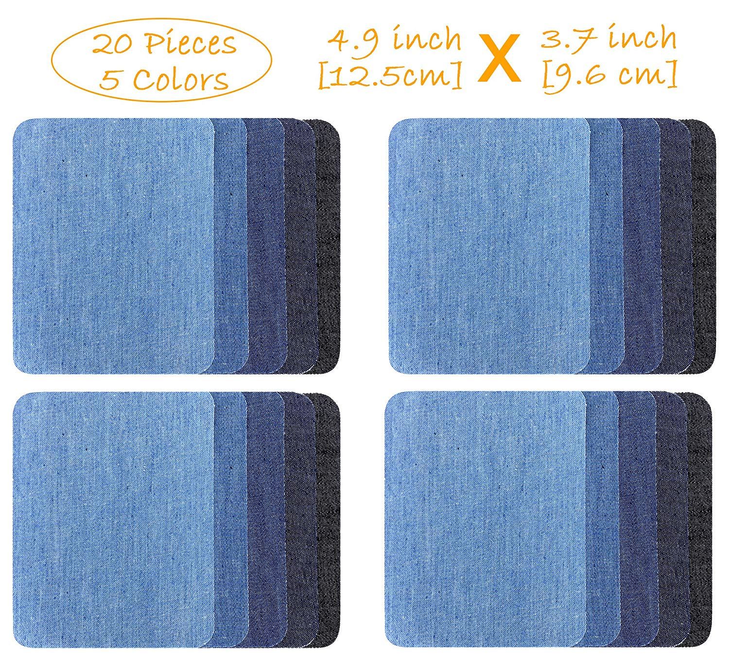 Iron-on Patches, 20-Pack Denim Cotton DIY Decorative Patch and Jean Repair Patches, 4.9 x 3.7 inch, 5 Colors (20-Pack-Comb2)