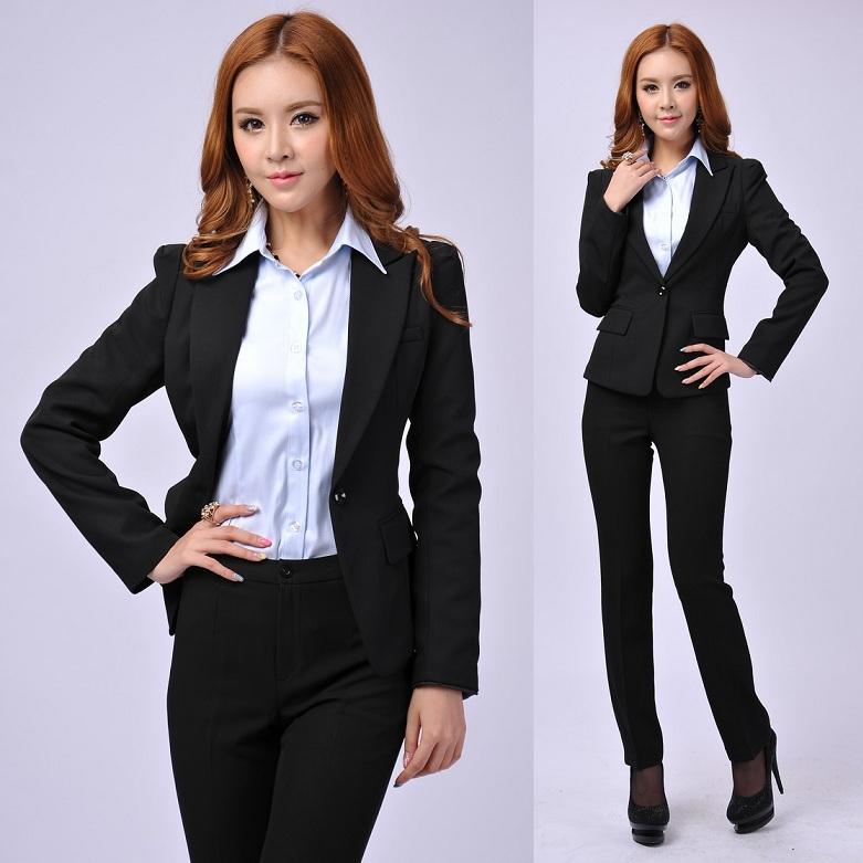 Зима официальный леди бизнес костюмы для женщины костюмы с брюки и куртка пиджак комплект офис форма стиль женское брючный костюм