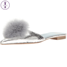 Designer leather rabbit hair adornment sexy women fashion mules slippers