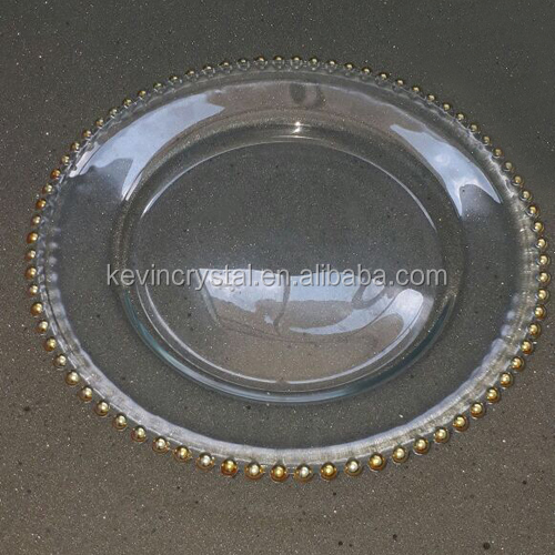 wholesale clear table decoration bead charger plate/round glass hotel restaurant serving platter/glass underplate