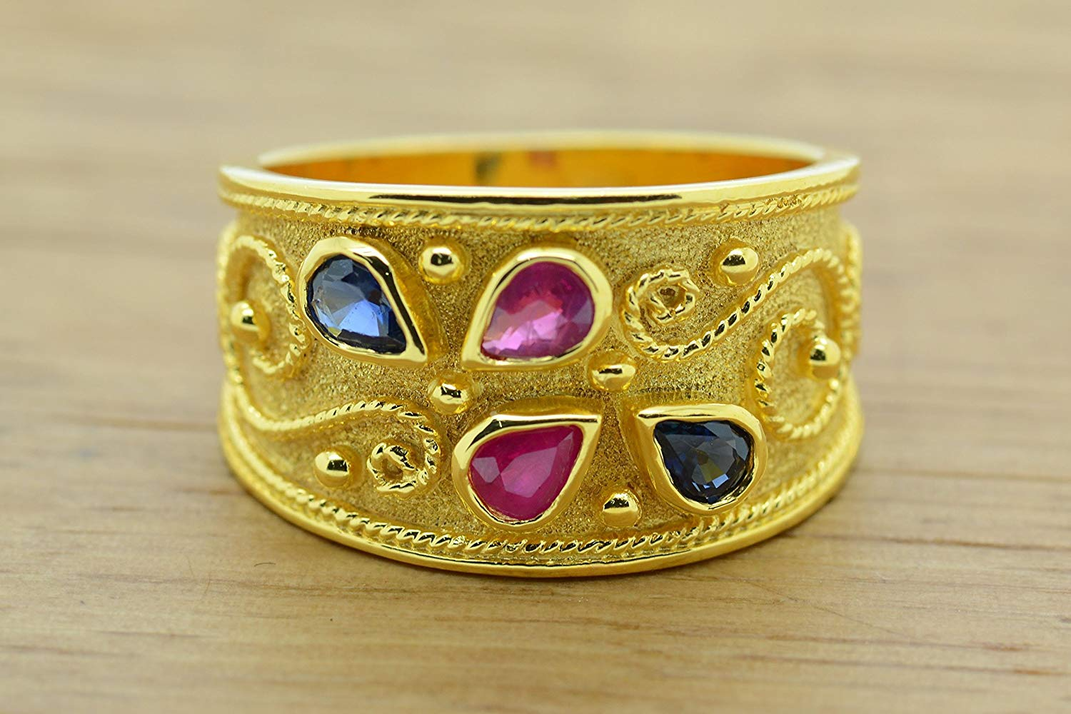 Pear Cut Ruby Sapphire Ring Byzantine Style 925 Sterling Silver 22K Gold Plated Greek Handmade Art Ring, Byzantine Rubies Sapphires CZ Ring, 22K Gold Plated Ring, CZ Band Ring, Sterling Silver Ring, Etruscan Style Ring, Byzantine Ring, Greek Jewelry, Luxury Ring, Medieval Ring, Elegant Sterling