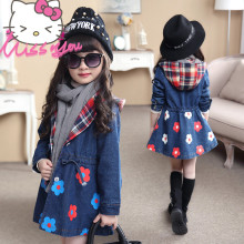Autumn Spring Girls Denim Coats Middle Length Girl Top Cardigan Denim Hoodie For 4T to 12T