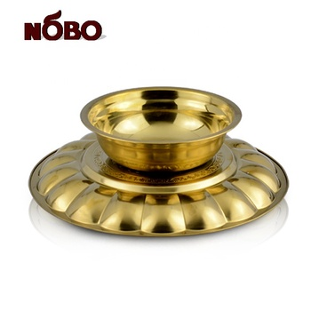 Nobo Wedding Decoration Round Indian Metal Wedding Tray With Stand