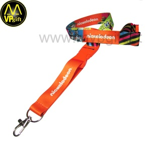 Promotional custom sublimation polyester lanyard loop buckle lanyard
