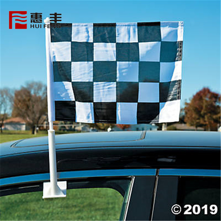 Custom Printed Polyester Checkered Car Mirror Flag Wholesale
