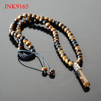 Healing Point Pendant Brown Tigers Eye and Black Onyx power bead men jewelry necklace