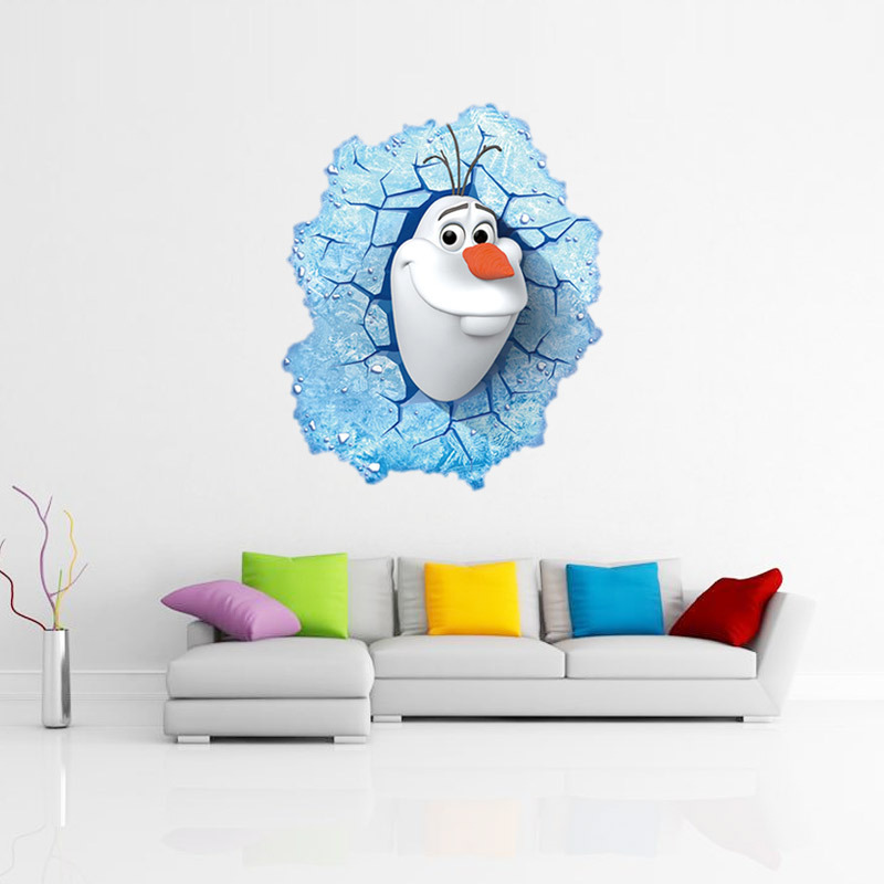 3d Olaf Through The Wall Stickers Pvc Cartoon Home Decoration For Kids Girls Room Decorative Wall Decal Poster Wallpaper Art