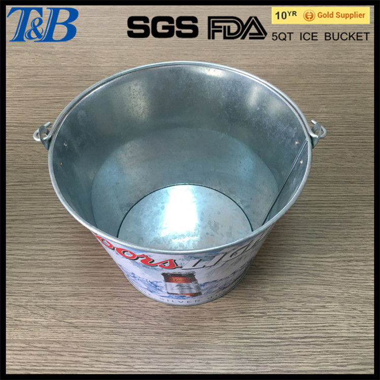 large metal beer cooler bucket can hold 6 glass