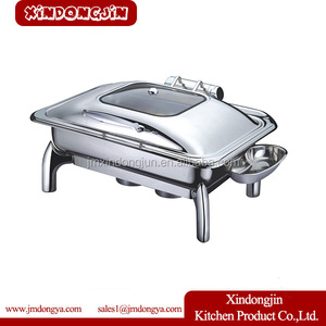 F016 Stainless Steel Full Size Cheap Hotel Hydraulic Induction Chafing Dish Buffet Chafer With Glass Lid