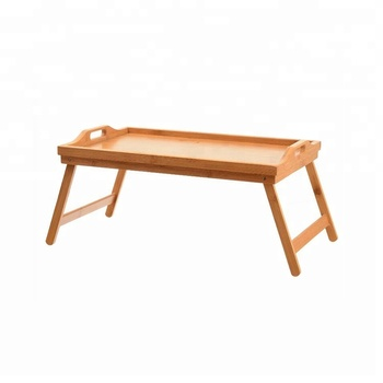 Home And Hotel Furniture Bed Tray Folding Breakfast Bamboo Table With
