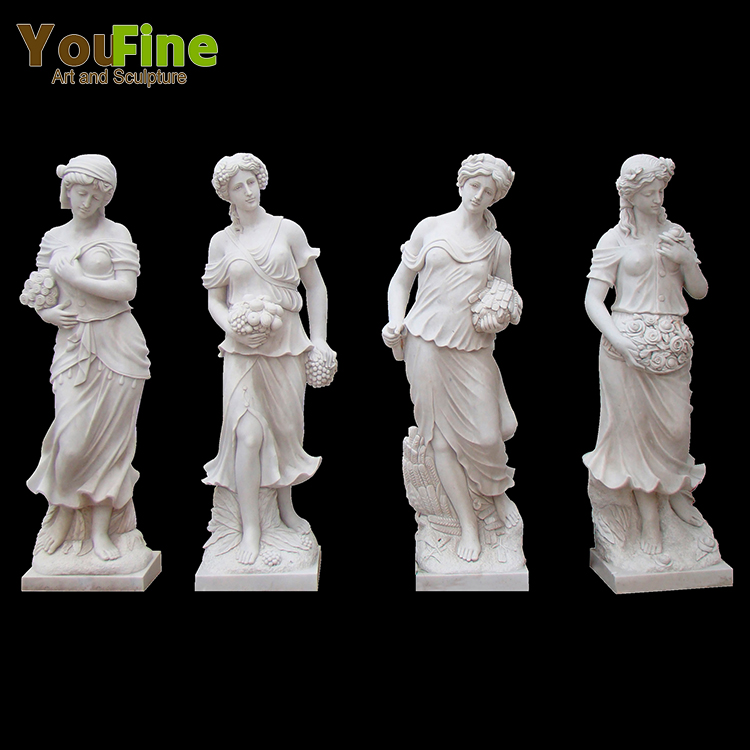 Beautiful White Marble Four Seasons Statues For Garden