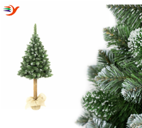 1.6m Artificial Spruce Christmas Tree with wooden base snowing wooden christmas tree