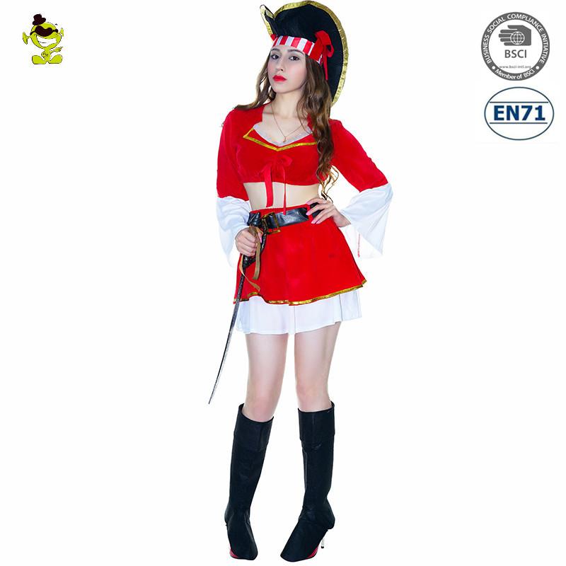 72a5809437d Adultos Halloween fiesta de cosplay del traje rojo Sexy pirata mujer  elegante vestido de traje