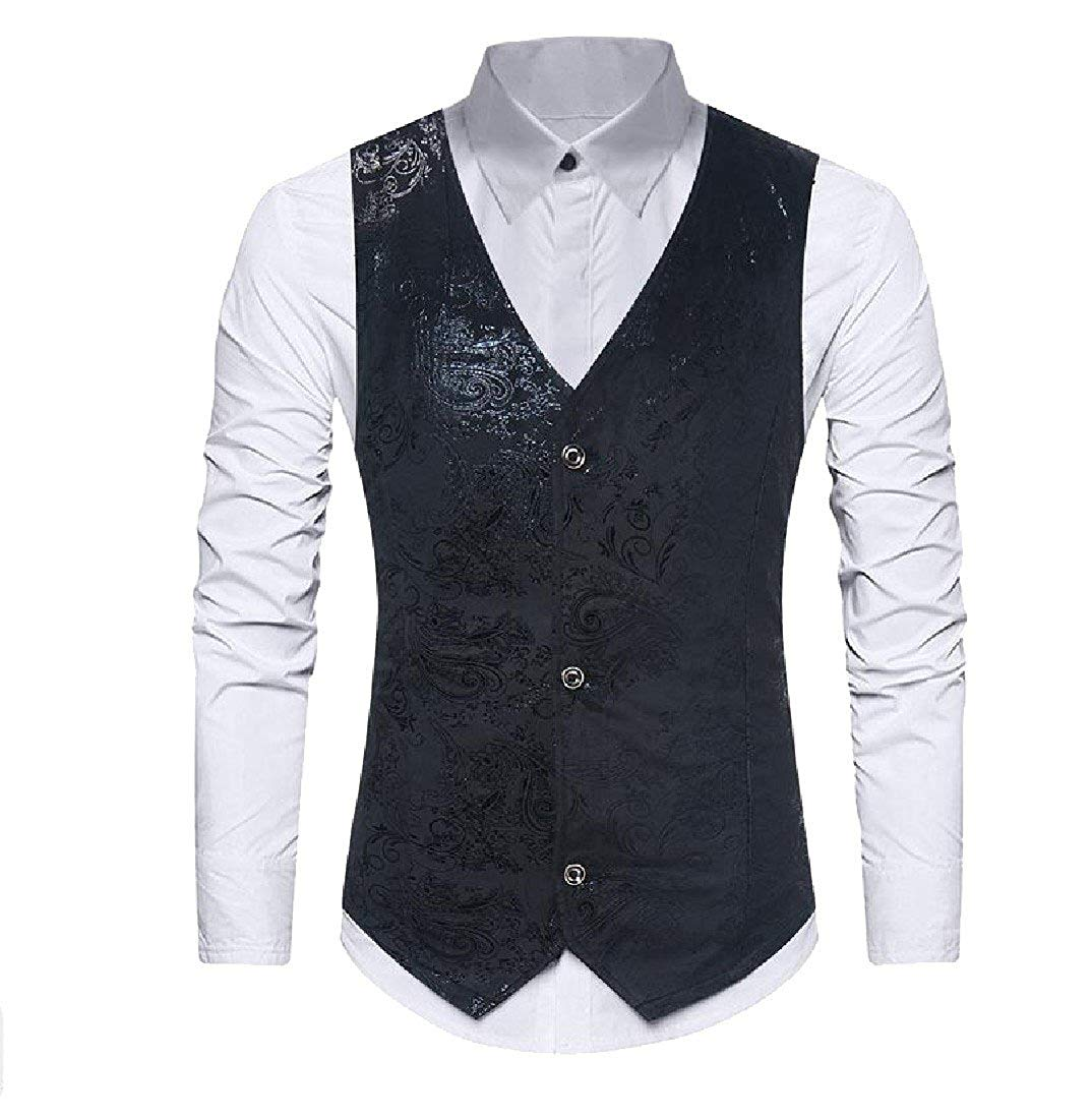 a2152c8b Get Quotations · Abetteric Mens Vest Vintage Retro Casual Printing Sequin  Vogue Vest Tops