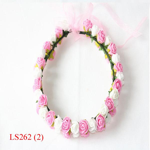 Boho Foam Artificial Flower Head Hair Wreath For Wedding