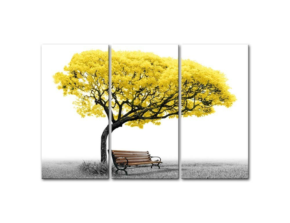 Canvas Wall Art Paintings For Home Decor Yellow Tree Park Bench In Black And White 3 Pieces Panel Modern Giclee Framed Artwork The Pictures For Living Room Decoration Landscape Photo Prints On Canvas