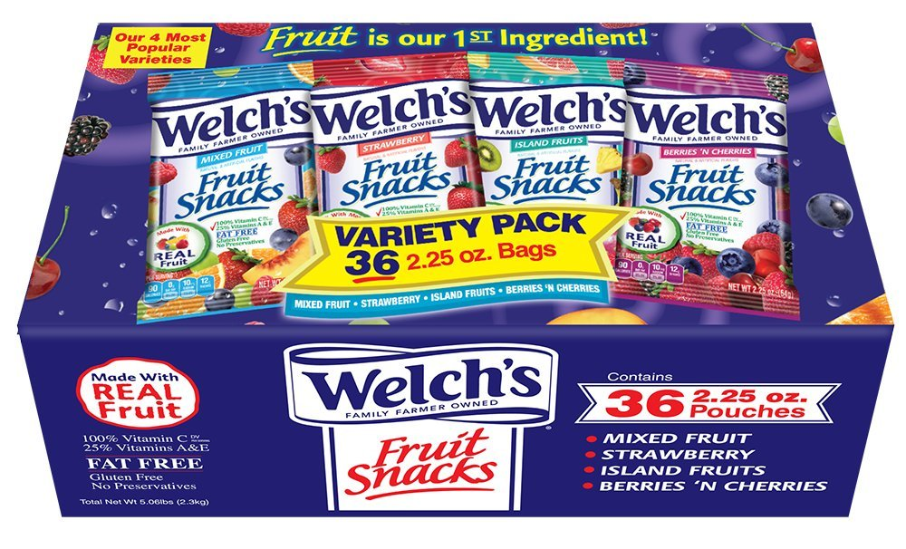 WELCH'S Variety Pack Fruit Snacks, 2.25 Ounce, 36 Count