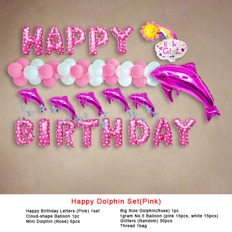 Happy Birthday Letters Party  Decoration  Balloons Dolphin Sape  Birthday Party Celebration Foil  Balloons