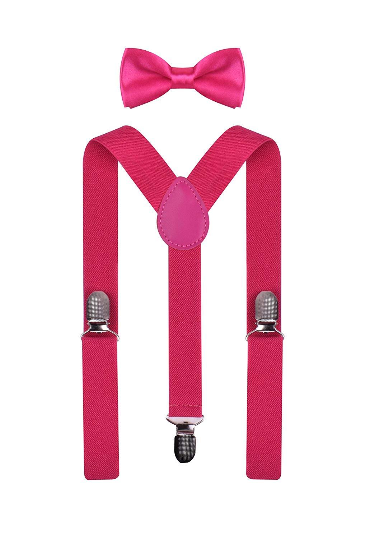 BODY STRENTH Kids Suspenders and Bow Tie Set Elastic Adjustable Hot Pink