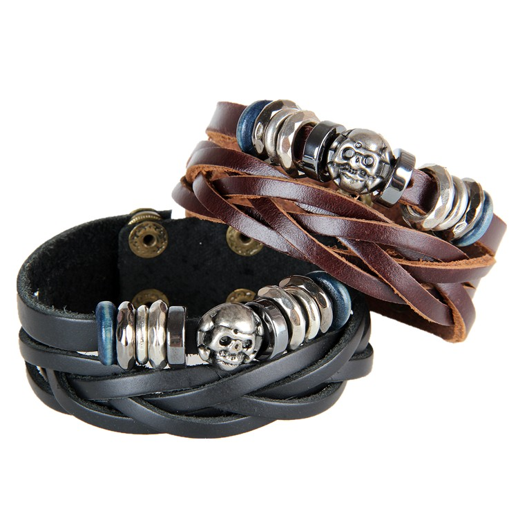 OEM Custom Design Genuine Braided Leather Cuff Bracelets Men With Metal Bead