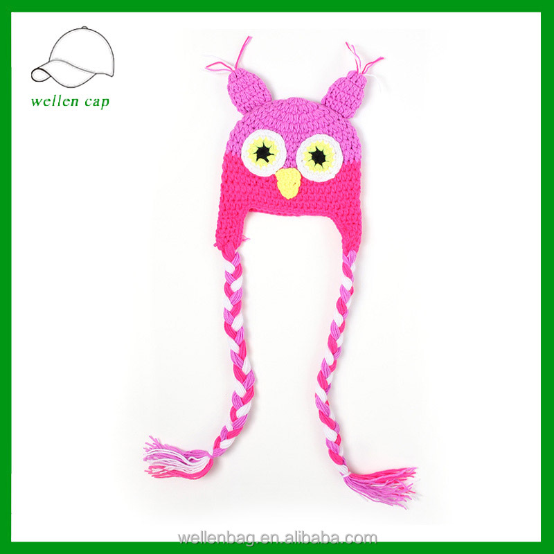 new style wholesale handmade cartoon animal owl baby crochet hat cheap winter warm cap plush earflap kids knitted hat