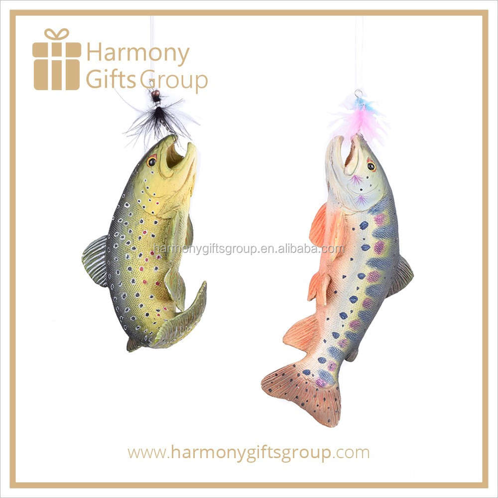 Polyresin Product Fish Ornament with Boa