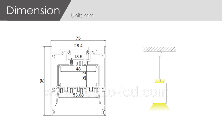 Factory direct supply W75H95mm up and down lighting led pendant light linear light system