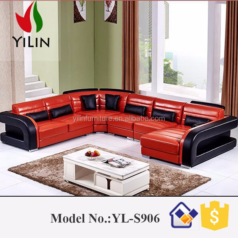 China Quality Supplier Lots Furniture Leather Corner Sofa S906