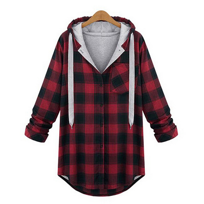 630c3f8640c Buy Women Thick Fleece Hooded Plaid Shirt Red White Black Plus Size Autumn  Coat 2015 Ladies Tops Cotton Long Sleeve Camisa Feminina in Cheap Price on  ...